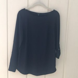 Anne Taylor Navy Blouse NWT